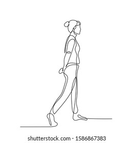 Continuous one line woman walk with hands behind her back. Vector stock illustration.