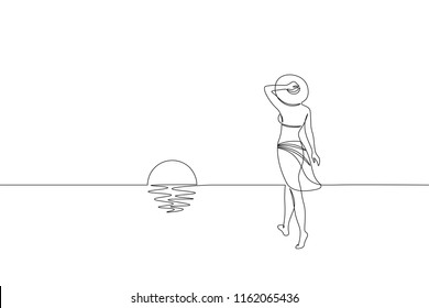 Continuous one single line art girl walking on sand beach concept. Beautiful woman sunset tropical holiday travel seashore hand drawn sketch. Beauty young lady horizont white vector illustration