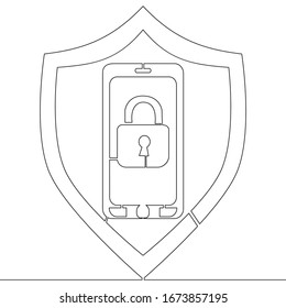 Continuous one single line drawing smartphone with security lock protection icon vector illustration concept