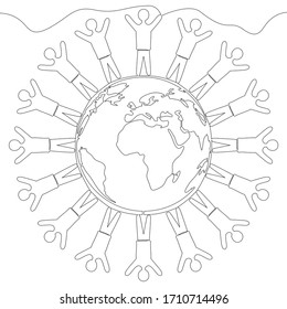 Continuous one single line drawing People over earth globe icon vector illustration concept
