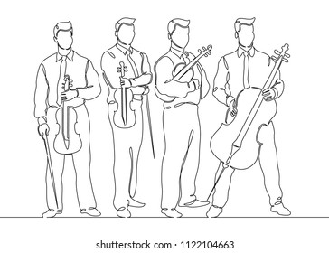Continuous one single line drawn musical quartet violin musicians. Classic music, musician, art, instrument, concert, classical, orchestra, cello, violinist, band.