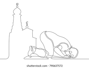 A continuous one-drawn line silhouette of an Islamic praying and a symbol of faith mosque. The concept of a religious image of a Muslim.