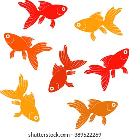 Continuous   pattern  with goldfishes - vector illustration