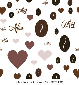 Continuous Pattern with Heart, text and coffee. Elements are not cropped. Pattern under the mask. Perfect design for textile, box, posters, cards, web etc.