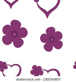 Continuous Pattern with Hearts Dark moderate pink color. For your design, textile, pattern fills, posters, cards, background etc. Elements are not cropped. Pattern under the mask. Vector.