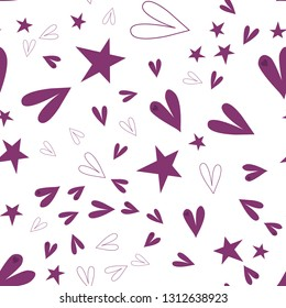 Continuous Pattern with Hearts and Stars Dark moderate pink color. This pattern can be used for design, textile, pattern fills, posters, cards, web page background etc. Pattern under the mask. Vector.