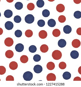 Continuous pattern polka dots blue and red colors. Vector. Elements are not cropped. Pattern under the mask. Perfect design for posters, cards, textile, web etc.
