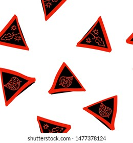Continuous pattern with Triangles Black and Vivid red color. Can be used for printing on packaging, bags, cups, laptop, box, etc. Pattern under the mask. Vector.