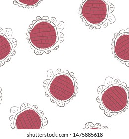 Continuous Seamless pattern Flower Moderate red color. Can be used for printing on packaging, bags, cups, laptop, box, etc. Pattern under the mask. Vector.