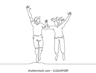 Continuous single drawn single line of happy jumping people couple in love. Vacationers are jumping in the summer on the beach, recreation, entertainment.