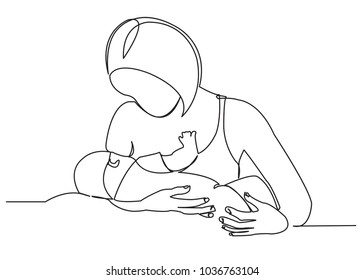 continuous single drawn one line woman is breastfeeding a child drawn picture silhouette. Line art. character mother feeds a newborn baby