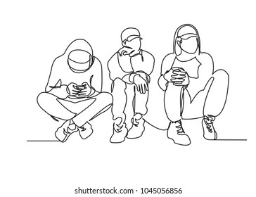 continuous single drawn one line of teens off the street drawn by hand picture silhouette. Line art. character street teenagers hang out