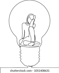 continuous single drawn one line girl in a lamp hand-drawn picture silhouette. Line art. character girl in the lamp as an idea
