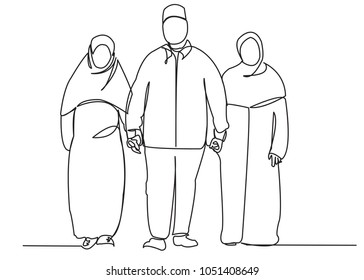 continuous single drawn one line traditional Muslim family hand-drawn picture silhouette. Line art. husband and two wives