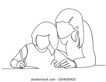 continuous single drawn one line mom makes with daughter lessons drawn from the hand picture silhouette. Line art. character daughter and mom are engaged