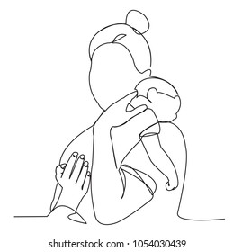 continuous single drawn one line woman in hospital with a newly born child drawn by hand picture silhouette. Line art. character mother with newborn baby