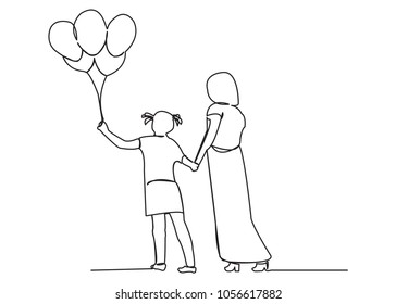 continuous single drawn one line mom with child and balloons hand-drawn picture silhouette. Line art. mother with daughter and balloons