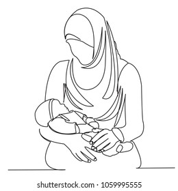 continuous single drawn one line Muslim woman with children on hands painted by hand silhouette picture. Line art