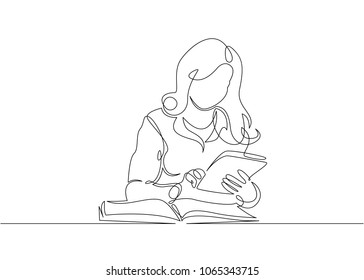 Continuous single drawn one line bookkeeper accountant works with documents