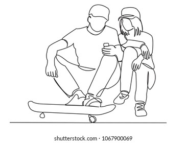 continuous single drawn one line of teens with a skate drawn by hand picture silhouette. Line art.
