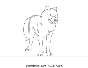 Continuous single drawn one line wild wolf