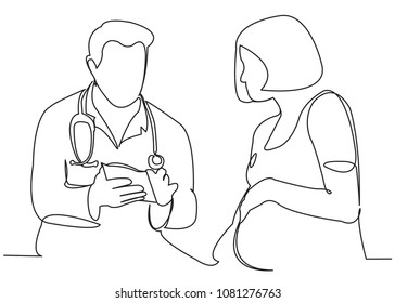 continuous single drawn one line pregnant woman at doctor's reception hand-drawn picture silhouette. Line art.