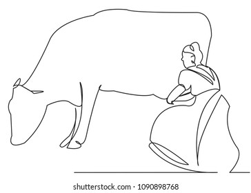continuous single drawn one line woman doi cow depicted from the hand picture silhouette. Line art. milkmaid