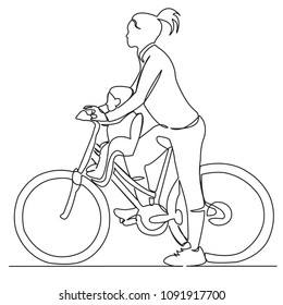 continuous single drawn one line mom with child riding a bicycle hand-drawn picture silhouette. Line art. mom with baby on a bike
