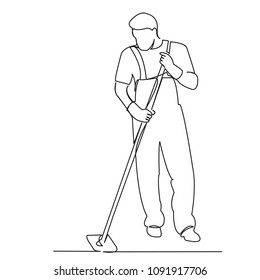 continuous single drawn one line male cleaner washes the floor painted by hand picture silhouette. Line art.