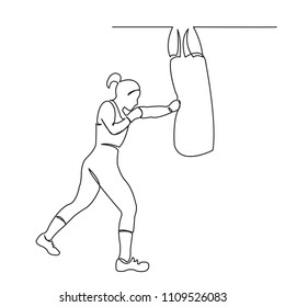 continuous single drawn one line woman boxer beats on projectile hand-drawn picture silhouette. Line Art. girl boxer in training