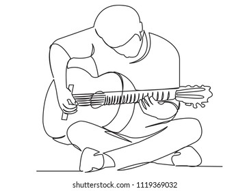 continuous single drawn one line street musician plays a guitar hand-drawn picture of the silhouette. Line art. playing guitar