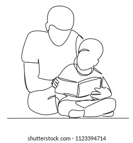 continuous single drawn one line dad reads book to son hand-drawn picture silhouette. Line art
