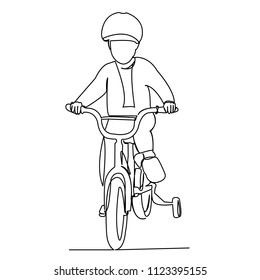 continuous single drawn one line child on a children's bicycle hand-drawn picture silhouette. Line art
