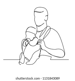 continuous single drawn one line of the child's daddy daddy in sling hand-drawn picture silhouette. Line art. character man with child in his arms