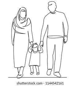 continuous single drawn one line Muslim family hand-drawn picture silhouette. Line art. Muslim family mom and dad
