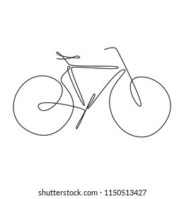 Continuous single drawn one line classic bicycle. Line art