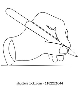 continuous single drawn one line pen in hand hand-drawn picture silhouette line art. doodle. pen in hand