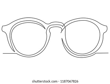 continuous single drawn one line sunglasses hand-drawn picture. Line art. doodle