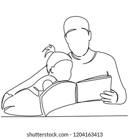 continuous single drawn one line dad reads a book to his daughter a hand-drawn picture of a silhouette. Line art. doodle