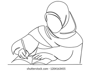 continuous single drawn one line girl muslim woman learns hand-drawn picture silhouette. Line art. doodle. Muslim girl is writing