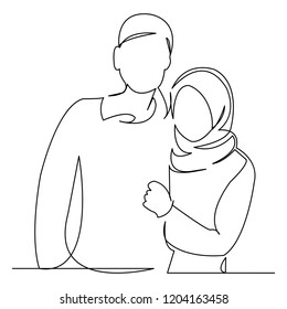 continuous single drawn one line love couple muslim hand-drawn picture silhouette. Line art. doodle.