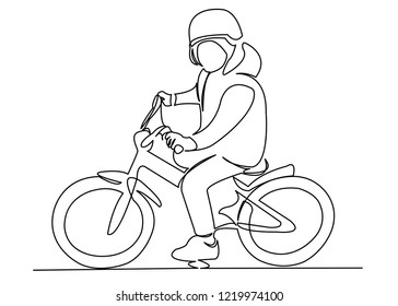 continuous single drawn one line boy on bike hand-drawn picture silhouette. Line art. doodle