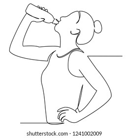 continuous single drawn one line girl athlete drinks water hand-drawn picture silhouette. Line art. Doodle
