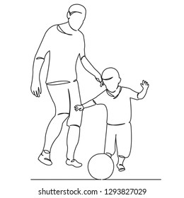 continuous single drawn one line family dad with son play football hand-drawn picture silhouette. Line art. doodle