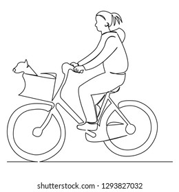 continuous single drawn one line girl with a dog ride a hand-drawn picture silhouette. Line art. doodle