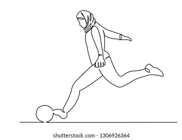 continuous single drawn one line muslim girl woman playing football hand-drawn picture silhouette. Line art. doodle
