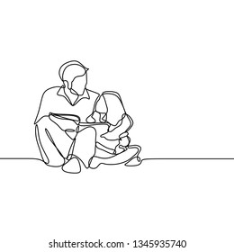 continuous single drawn one line the daddy tell story the child minimalism family concept