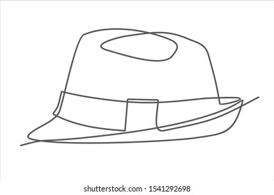 Continuous single drawn one line men hat hand-drawn picture silhouette. Line art.