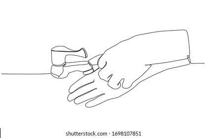 Continuous single drawn one line wahsing hand. Vector of hand drawn sketch simplicity wash hand