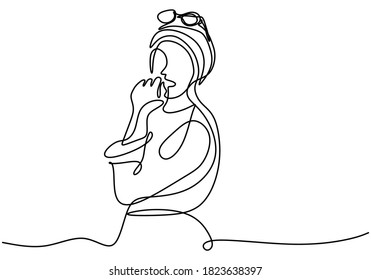 Continuous single drawn one line girl muslim woman pose with cardigan. Young girl pose confident with blazer. Women's top fashion concept. Minimalism style vector design illustration.